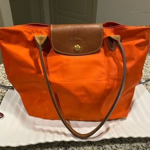 Long Champ Orange Le Pliage Small Bag